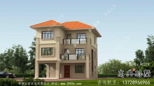 农村三层欧式别墅外观效果图及平面设计图
