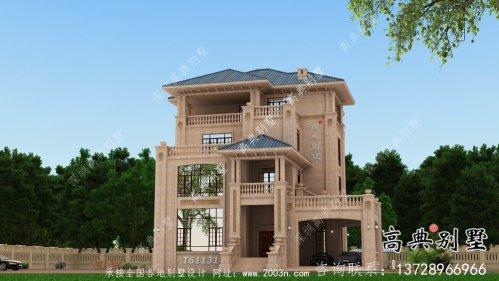欧式石材四层乡村别墅建筑设计图