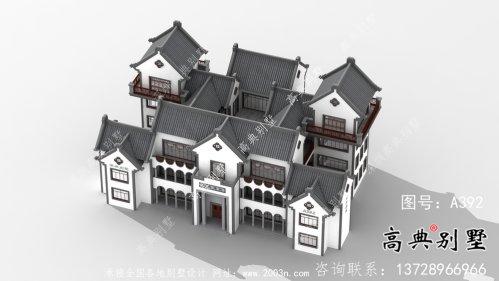 新中式四层潮派别墅外观效果图