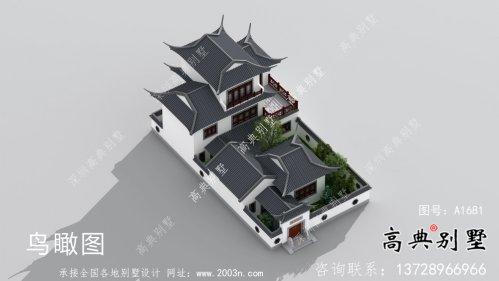 乡村风格优雅新中式别墅设计图+效果图