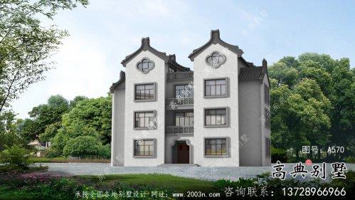 四层新中式潮派别墅外观效果图