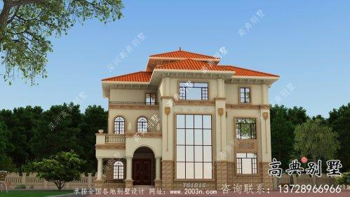 三层带落地窗典雅大方欧式风格别墅设计图(含效果图)