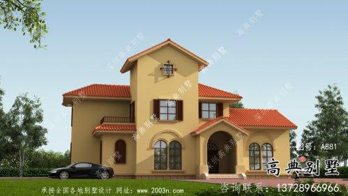 西班牙风格二层欧式别墅设计全套图纸