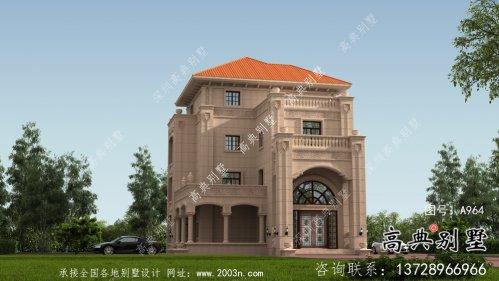 乡村欧式四层石材别墅设计外观效果图