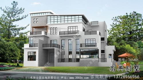 现代风格平屋顶简约别墅设计图