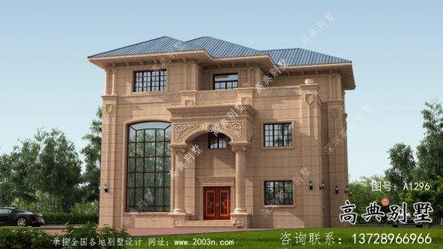 复式三层欧式石材别墅外观效果图