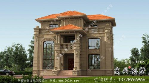 豪华复式三层石材欧式别墅外观效果图