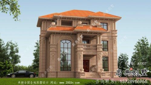 农村三层欧式自建石材小别墅外观图