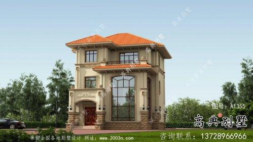 现代农村欧式三层复式别墅房屋设计图