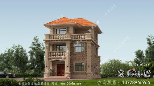 欧式自建三层农村别墅外观设计效果图