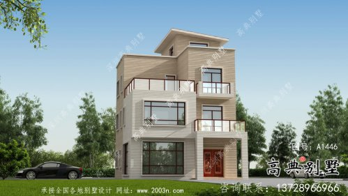 现代风格四层平屋顶乡村别墅设计图纸