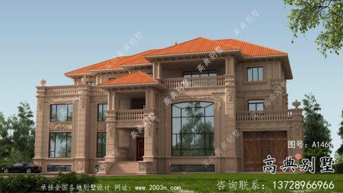 乡村三层欧式石材豪华别墅设计图纸