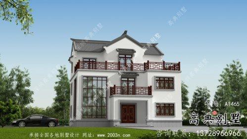 乡村新中式三层别墅外观设计图纸