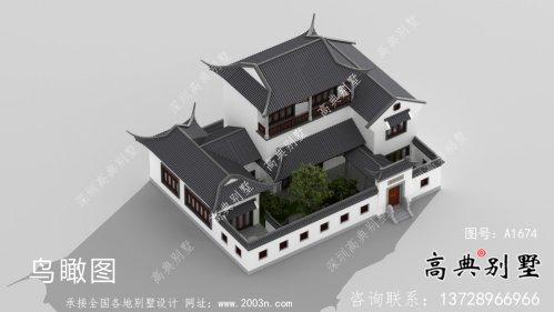 农村新中式三层苏式园林别墅外观效果