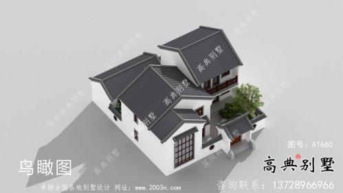 新中式文雅二层苏式园林别墅设计图纸