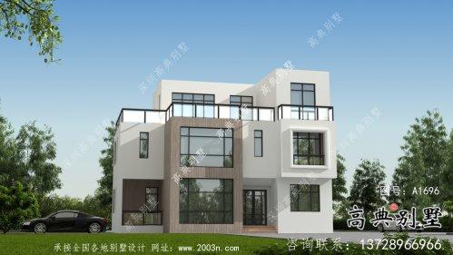 现代时尚三层平屋顶别墅设计图纸