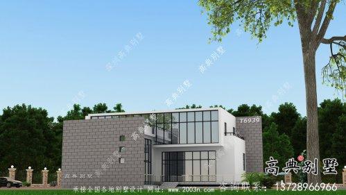 现代明亮二层平屋顶别墅外观设计图