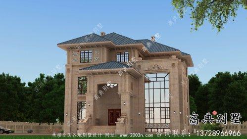 复式三层欧式石材别墅建筑设计图纸