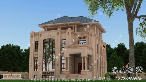 欧式复式三层石材别墅施工图纸及效果