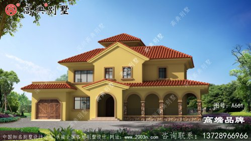地中海风格两层半别墅小楼外观设计图