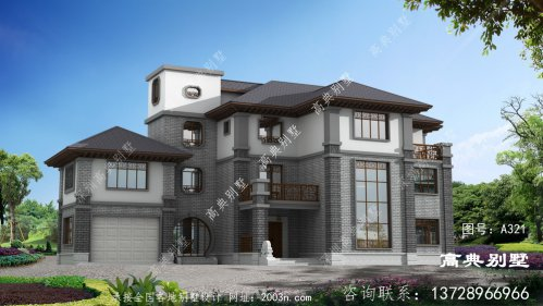 设计简洁大方的三层中式别墅