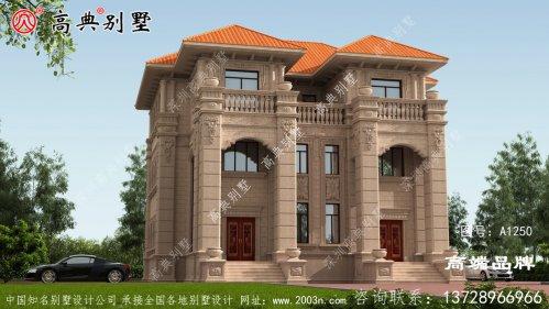豪华欧式石材双拼三层别墅