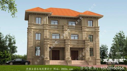 古典欧式石材三层别墅自建房设计图