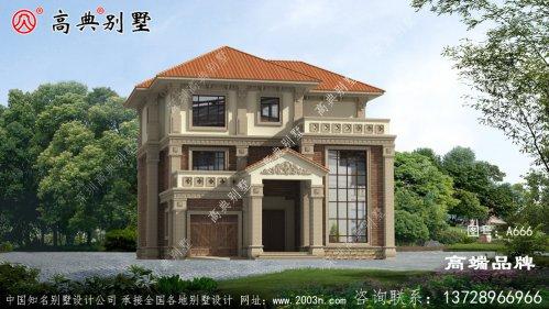 乡村三层170平方米别墅设计图,含外型