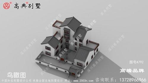 中式四层村庄新别墅设计图纸带庭院