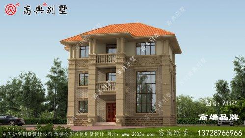 农村复式三层高档欧式别墅效果图