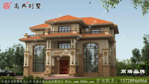 高端大气别墅设计图三层房型,外型空