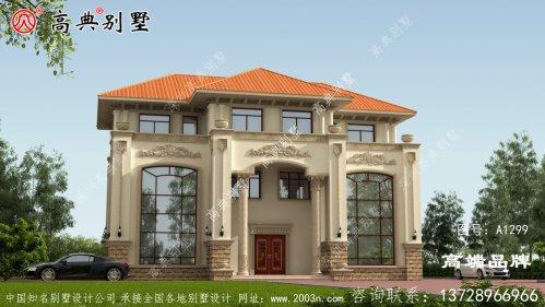 欧式风格三层双拼别墅图纸与效果图