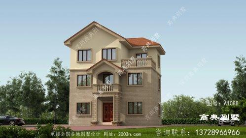 乡村欧式三层房子别墅设计图,外型照