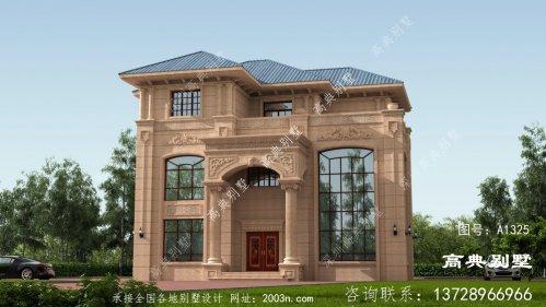 欧式风格复式三层经典石材别墅设计图