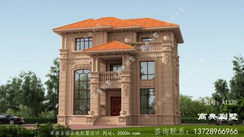 经典大气的三层欧式石材别墅设计效果