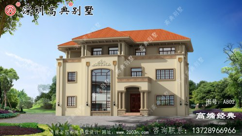 农村三层别墅房屋住宅设计图,外观立体