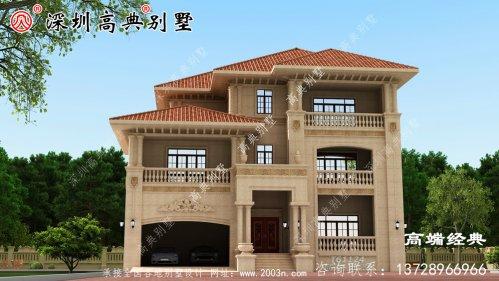 三层欧式别墅自建房,靓丽的外观色调