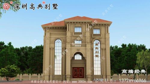 乡村三层半普通建筑的外观设计。